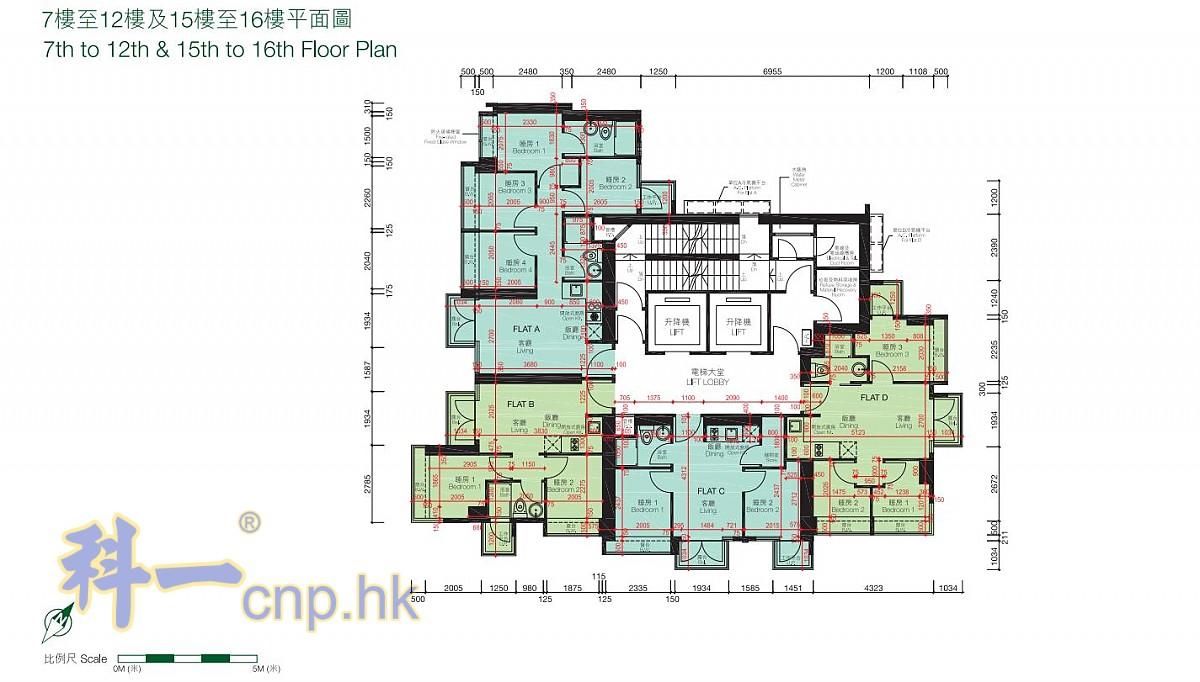 7-12樓, 15-16樓